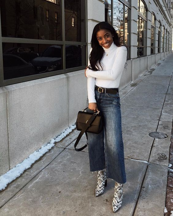 Denim Culottes and a White Turtleneck