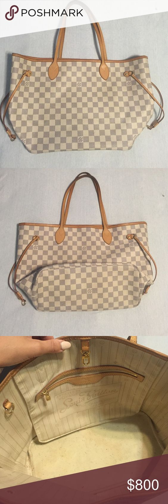 Damier Azur neverfull mm Used but in excellent condition Louis Vuitton Bags Shoulder Bags