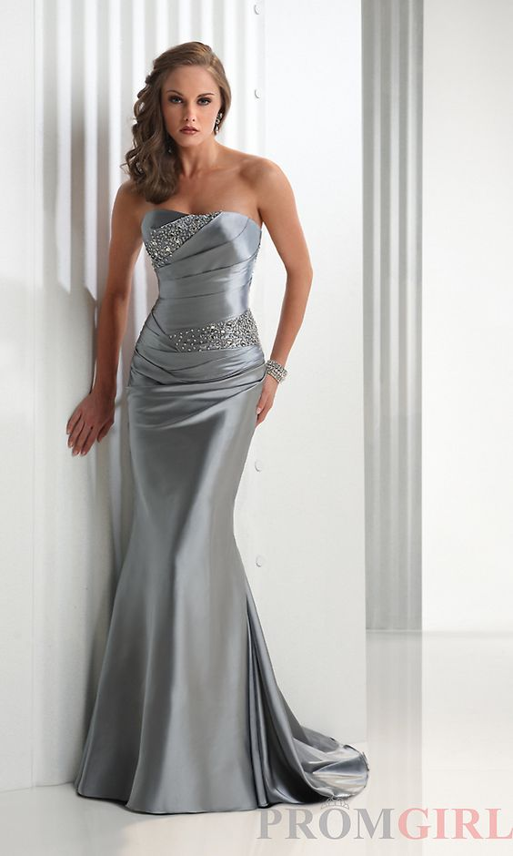 Silver Evening Gowns | Silver Evening Dresses, Flirt Evening Prom ...