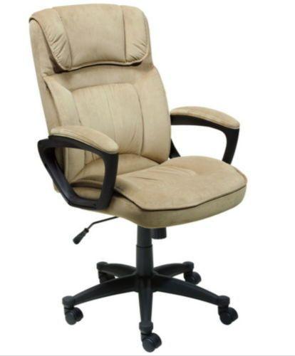 Modern Executive Chair Lumbar Support Ergonomic Office Furniture Beige Finish