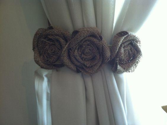 Burlap Curtain Tie Back Pair Three Natural By