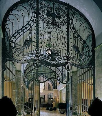 gates at Gresham Palace in Budapest  - one of the finest examples of Art Nouveau