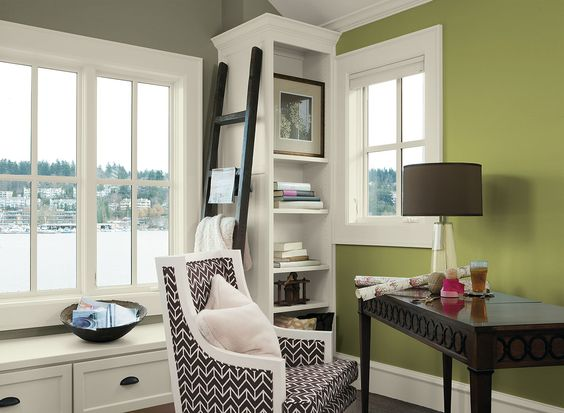 Benjamin Moore Paint Colors - Green Home Office Ideas - Energized Home Office - Paint Color Schemes . . . . . An accent wall of Brookside Moss (2145-30) is a welcome splash of color in a work space. . . . . . Accent Wall (by lamp) - Brookside Moss (2145-30); Wall (by big window & shelves) - Sparrow (AF-720); Ceiling & Trim (& probably shelves) - Silken Pine (2144-50).