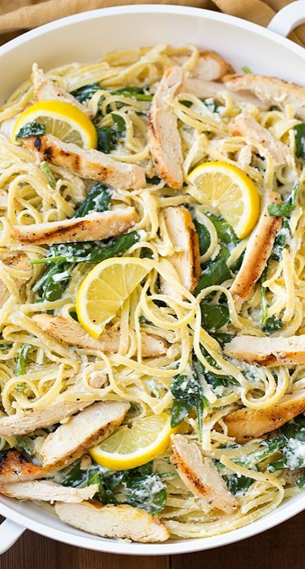Lemon Ricotta Parmesan Pasta with Spinach and Grilled Chicken - Colorful, flavorful, and satisfying, this is likely to become a fast favorite.