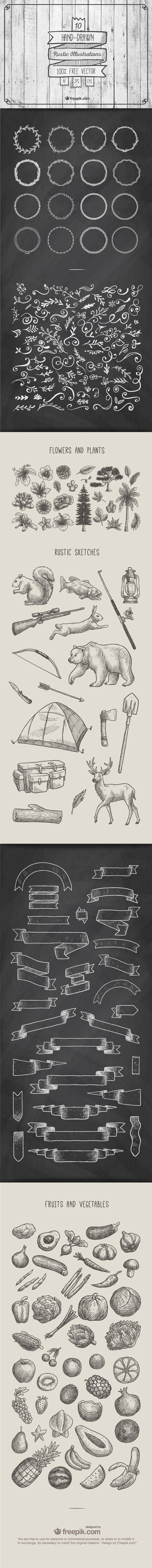 A Great collection of free rustic illustrations, ornaments, ribbons, & banners!