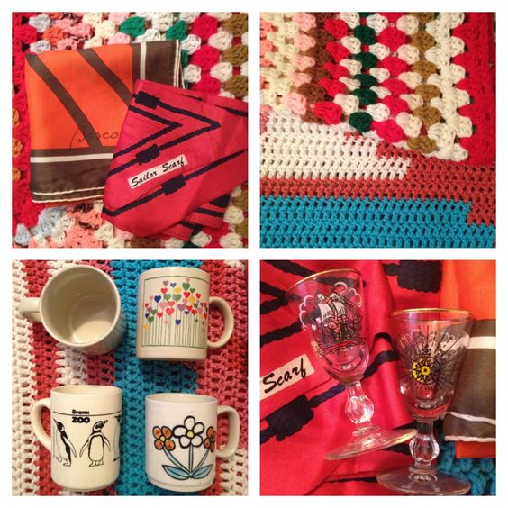 Thrifting in Michigan is always successful! Vintage mugs, silk scarves, nautical cordial glasses and crocheted blankets.   Featured on the bömisch blog http://bomisch.tumblr.com