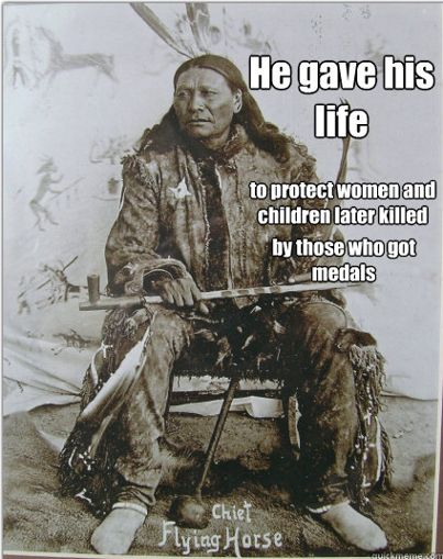 Chief Flying Horse, the older brother of the minor Sitting Bull charged into Captain Henry Jackson's men, knowing full well he would be killed but his actions permitted enough time for women and children to get further away.