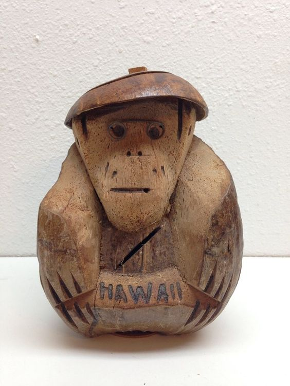 Vintage Hawaiian Souvenir Coconut Monkey Coin Bank Hawaii Hand Carved Money Slot