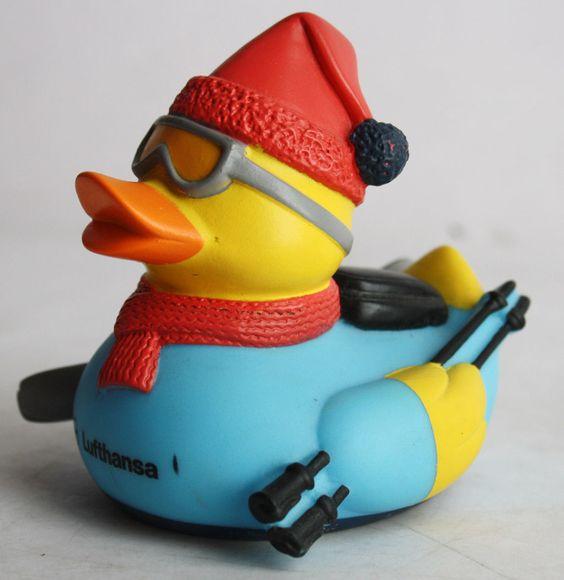Ultra RARE First Class Lufthansa Winter Ski Rubber Duck Blue | eBay: