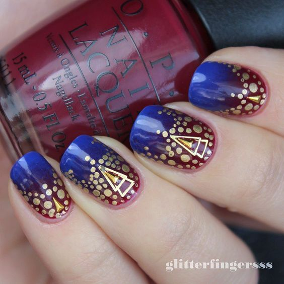 """""""Red-blurple gradient with studs and dots :) #opi #nailart #nailartwow #nailartaddict #nails2inspire #nailartjunkie #nailswag #nailartdesign #nailitdaily #nailsofinstagram #nailstagram #nailartoftheday #nailpromote #nailfeature #dailynails"""" Photo taken by @glitterfingersss on Instagram, pinned via the InstaPin iOS App! http://www.instapinapp.com (02/19/2015)"""