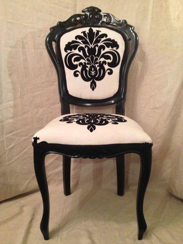 Black Cream Damask French Style Bedroom Boudoir Dressing