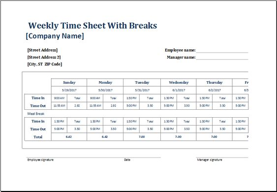 weekly time sheet with and without break at http\/\/wwwxltemplates - employee timesheet