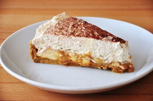 taart met bananen, karamel en slagroom, ga 'm zeker eens proberen