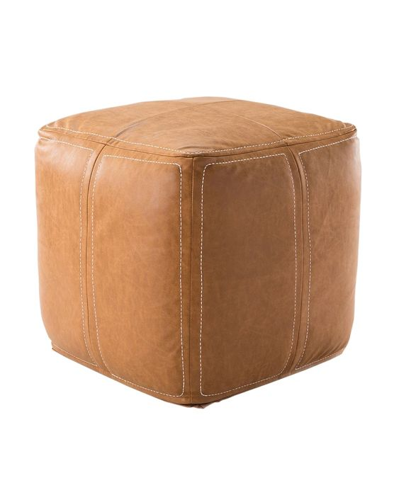 Bastien Leather Ottoman Mcgee Co In 2020 Leather Ottoman Leather Pouf Ottoman