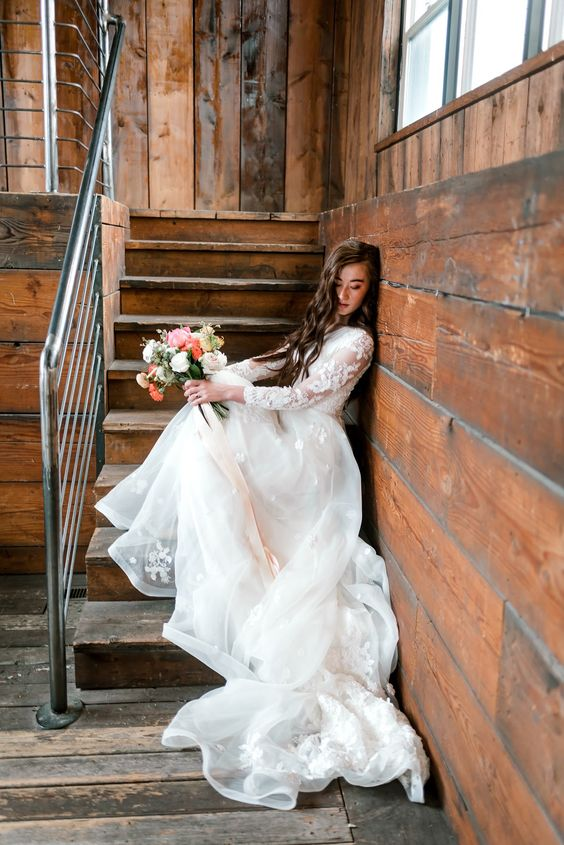 Victoria gown Transcendent collection by Elizabeth Cooper Design | Beautifully Dunn Photography |  modest wedding dress | modest | wedding dress with sleeves | wedding gown | sleeves | organza wedding dress | wedding dresses | lace wedding dresses | Elizabeth Cooper Design |