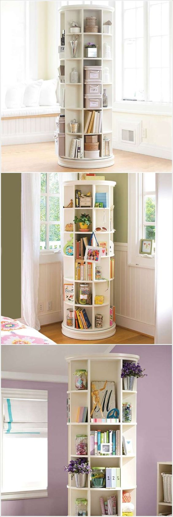 A Revolving Bookcase Loaded with Storage Space