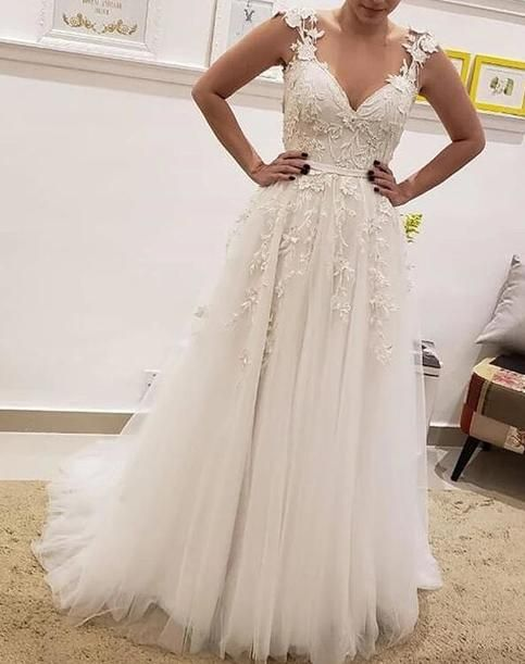 Chic A Line Appliques Lace Wedding Dresses Simple Sleeveless Tulle Wedding Dresses 206 Outdoor Wedding Dress Wedding Guest Dresses Uk Wedding Dresses Uk