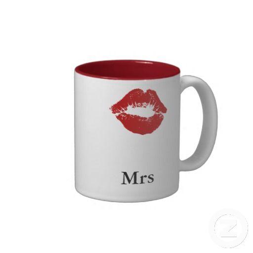 Lipstick Smudge Mrs Coffee Mug-Matching Mustache Mr mug also available