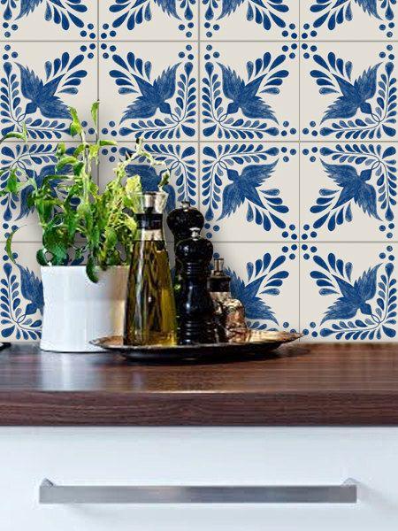 Kitchen & Bathroom Portuguese Flora Vinyl Tile Sticker Pack color Indigo Blue