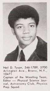 Astrophysicist and science evangelizer Neil deGrasse Tyson in his 1976 senior yearbook at the Bronx High School of Science, in the Bronx, New York.