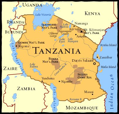 Tanzania Map Borders - Map of tanzania