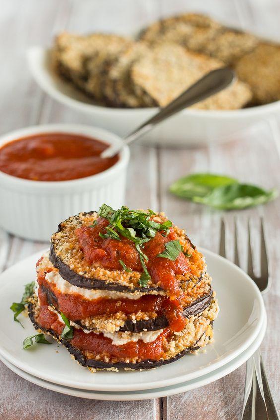 Vegan Baked Eggplant Parmesan Stacks