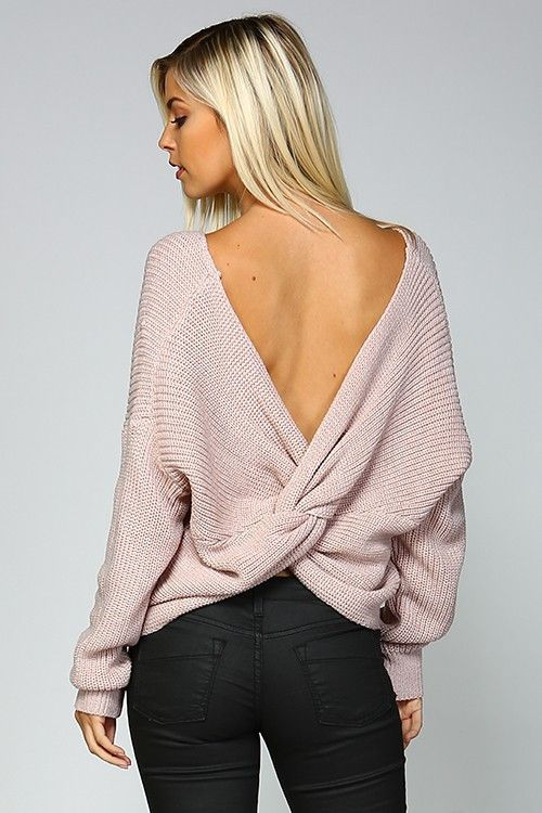 """Do The Twist"" Knit Sweater (Mauve)"