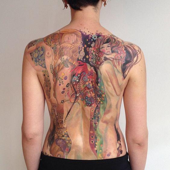 Klimt inspired back piece  by Amanda Wachob #ink #tattoo