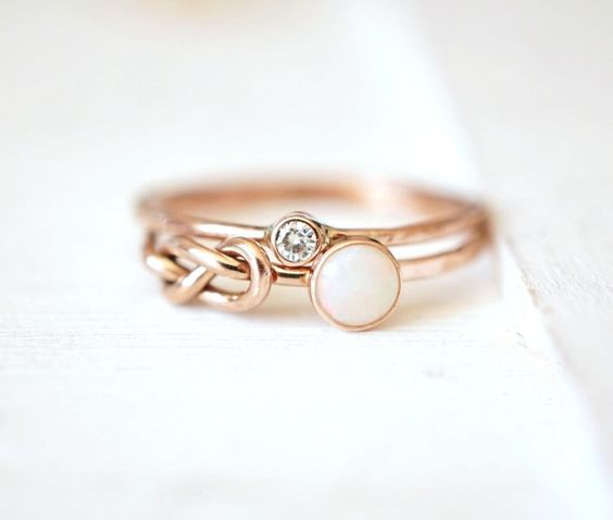 Opal Ring Set Engagement Rings Moissanite Ring by Luxuring on Etsy