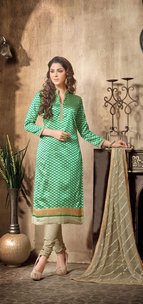 13001-Chanderi Daily / Office Wear Dress Materials - http://member.bulkmart.in/product/13001-chanderi-daily-office-wear-dress-materials/