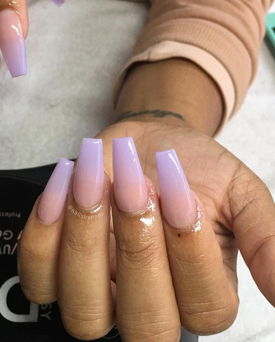 Purple Ombre Nails : purple, ombre, nails, Ombre, Nails,, Acrylic, Glitter, Almond, Spring, Nail,, Coffin, Design, Purple, Lilac, Lavender, Nails