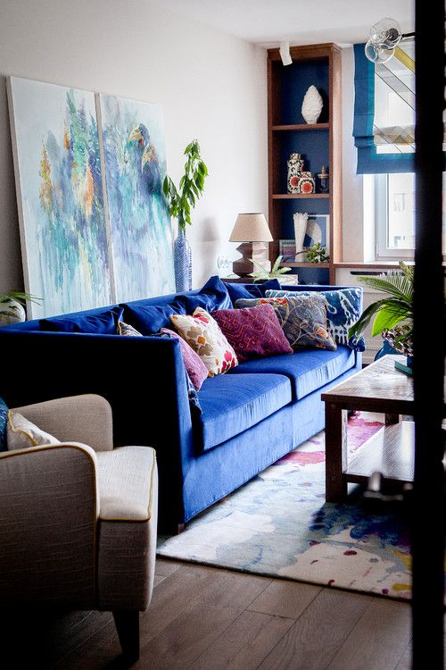 Bold Color Adventures In Decorating Town Country Living Blue Living Room Decor Blue Couch Living Room Eclectic Living Room