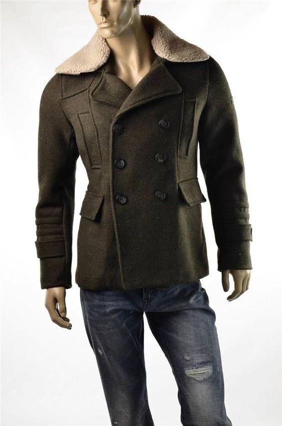 English Laundry Coat Mens Elegant Arrogant Wool Olive Green Jacket