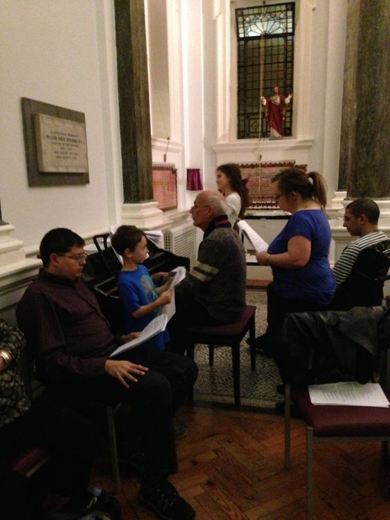 some of the loverly singers in the Choir gathered around our Christopher Goody on the Joanna