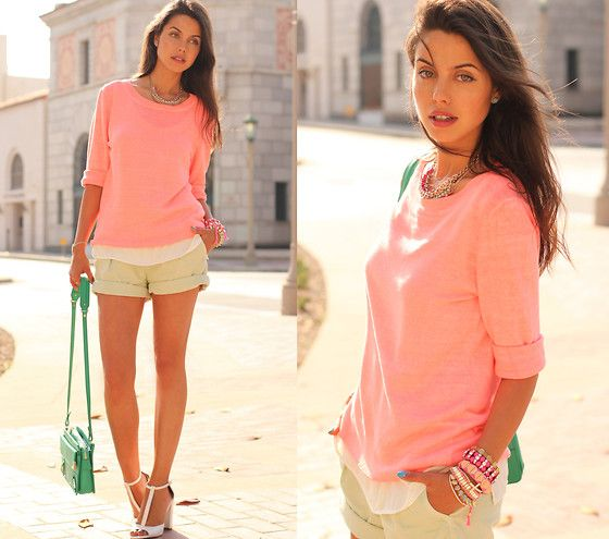 J Crew Sweater, Kasil Workshop Shorts, Rebecca Minkoff Bag, Zara Heels