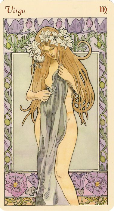 "FTOP: ""Virgo 'art nouveau astrological oracle deck"" illustrated by Antonella Castelli and published by Lo Scarabeo"". How pretty!: Zodiac Art, Art Nouveau, Astrological Oracle, Astrology Tarot, Virgo Astrology, Zodiac Virgo Art"