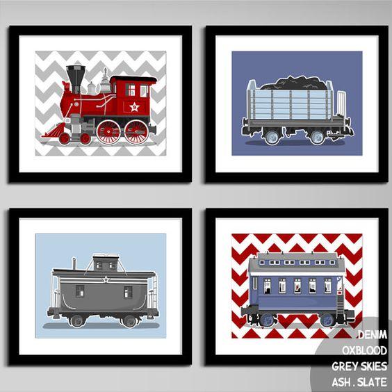 Maybe for Hudson's nursery?  Train set wall art  chevron wall art prints  set of by PaperLlamas, $45.00