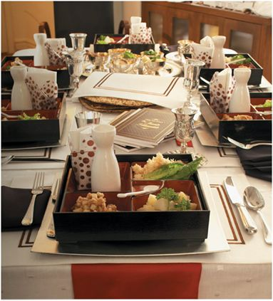 Wow, Jessica Claire blows my mind with this twist on a traditional Passover Seder. Enter the Bento Box! Compartmentalize your Pesach dinner and even serve up chopsticks for some extra fun.