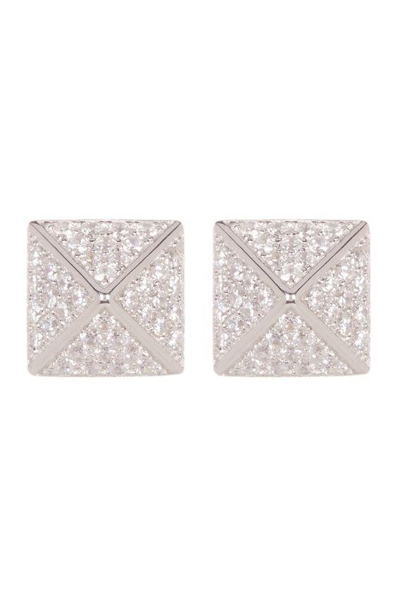 Sterling Silver Swarovski Crystal Embellished Cuboid Earrings