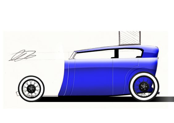 An initial colour sketch of a phaeton body for the Hot Rod Future project.