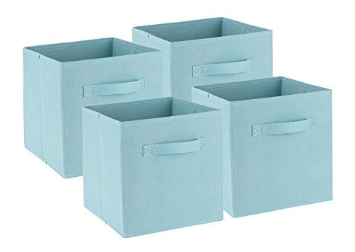 iuhome Capri Set of 4 Foldable Fabric Baskets, Lagoon iuhome