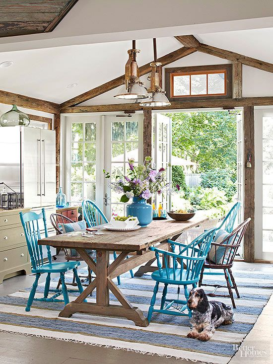 Painted chairs farms and tables on pinterest for Casual dining room lighting ideas