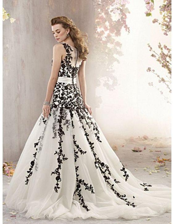Black and white wedding dress with Lace -weddingdresses - Wedding ...