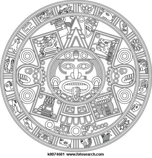 Calendar Drawing Easy : Clipart of mayan calendar line illustration k