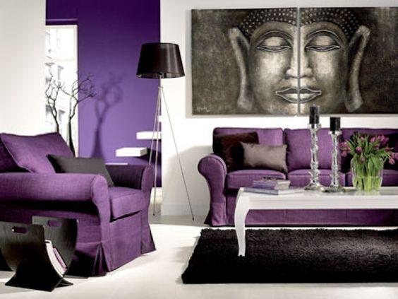 dekoideen wohnzimmer lila wohnzimmer im asiatischen stil hause ...