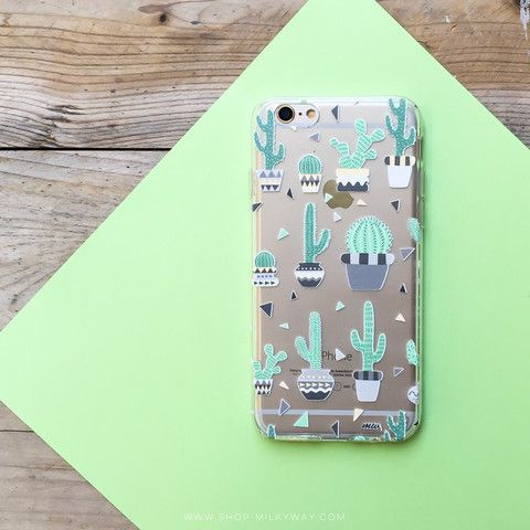 Clear TPU Case Cover Cactus Party