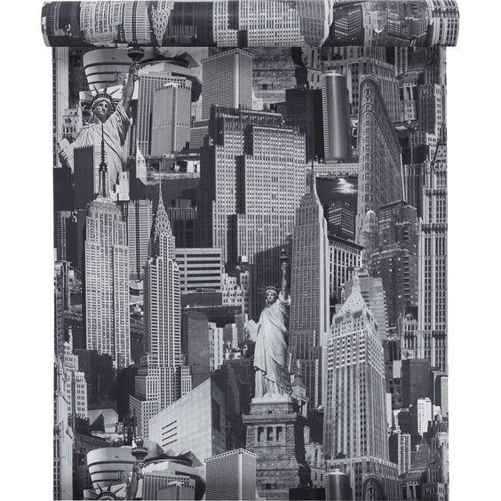 Papier peint sur papier inspire new york gris larg - Papier peint leroy merlin chambre ado ...