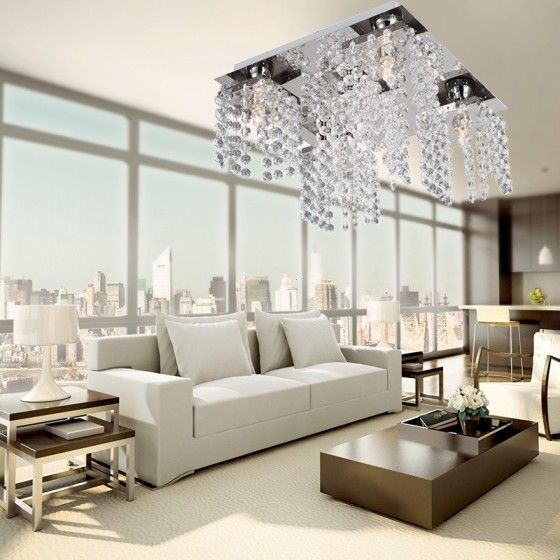 Modern Beaded Ceiling Lighting with 5 Lights in Crystal