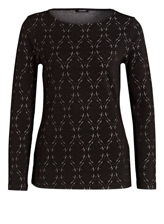 Der Pullover von MORE & MORE präsentiert sich mit interessantem Allover-Muster. Gleichzeitig schafft der taillierte Schnitt eine feminine Silhouette. Komplettieren Sie Ihre Casual-Look mit diesem legeren Casual-Piece!Details:Taillierter Schnitt Rundhalsausschnitt Allover-MusterMaße bei Größe 36:Rückenlänge ab Schulter: 66 cm