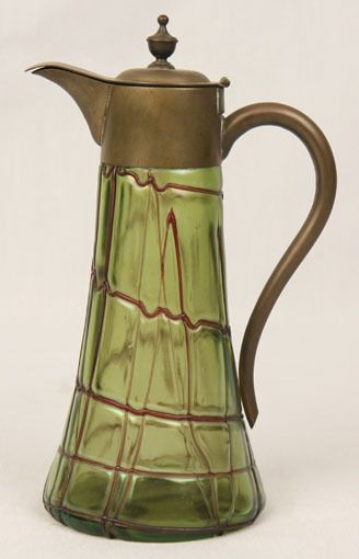 ANTIQUE LOETZ PALLME KONIG GLASS IRRIDESCENT GREEN JUG PURPLE THREAD METAL MOUNT